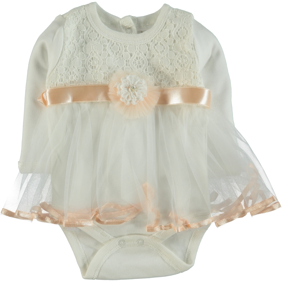 T.F.Taffy 0-6 Months Baby Girl Bodysuit With Snaps Taffy Salmon