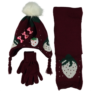 Civil Burgundy Hat Gloves Scarf Set Girls 4-7 Years