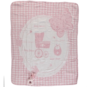 Golden Powder pink baby girl Rattle blanket is what cm will be installed