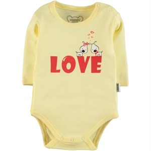 Albimini Baby 0-24 Months Yellow Bodysuit With Snaps