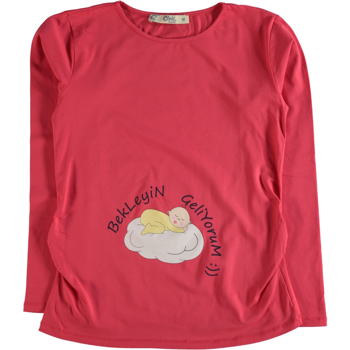 Cvl Pregnant combed cotton T-shirt m-XXL size tongue in cheek