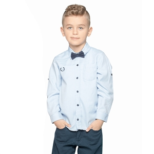 Civil Boys 6-10 Years Boy Blue Shirt With A Bow Tie