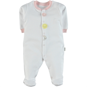 Kiti Kate Organic Combed Cotton Overalls 0-3 Months Pink Baby, Booty Oh