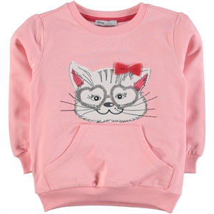 Cvl Baby Girl Powder Pink Sweatshirt Combed Cotton Age 2-5 (1)