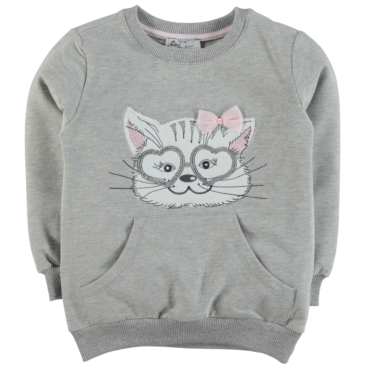Cvl 2-5 Years Baby Girl Combed Cotton Gray Sweatshirt