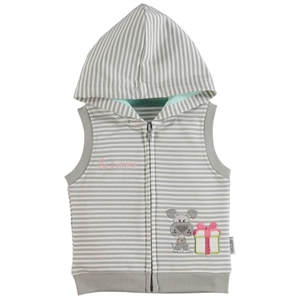 Kujju 6-18 Months Baby Girl Hooded Vest Gray