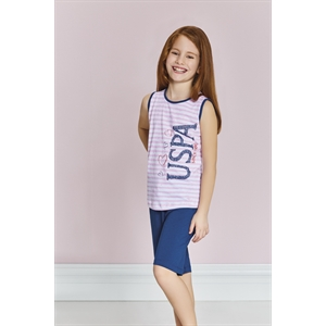 US Polo Us9171 - Girl Us Polo Bermuda Pink Licensed Team
