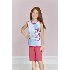 US Polo Us9171 - Girl US Polo Team Licensed Bermuda Turquoise