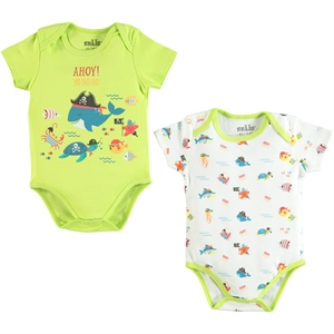 Kujju Baby boy 2-12-24 months Bodysuit with snaps Yesil (1)