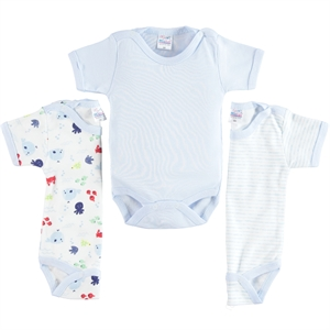 Misket 0-12 Months Baby Boy Bodysuit With Snaps, Blue