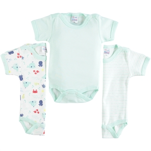 Misket Mint Green 0-12 Months Baby Boy Bodysuit With Snaps