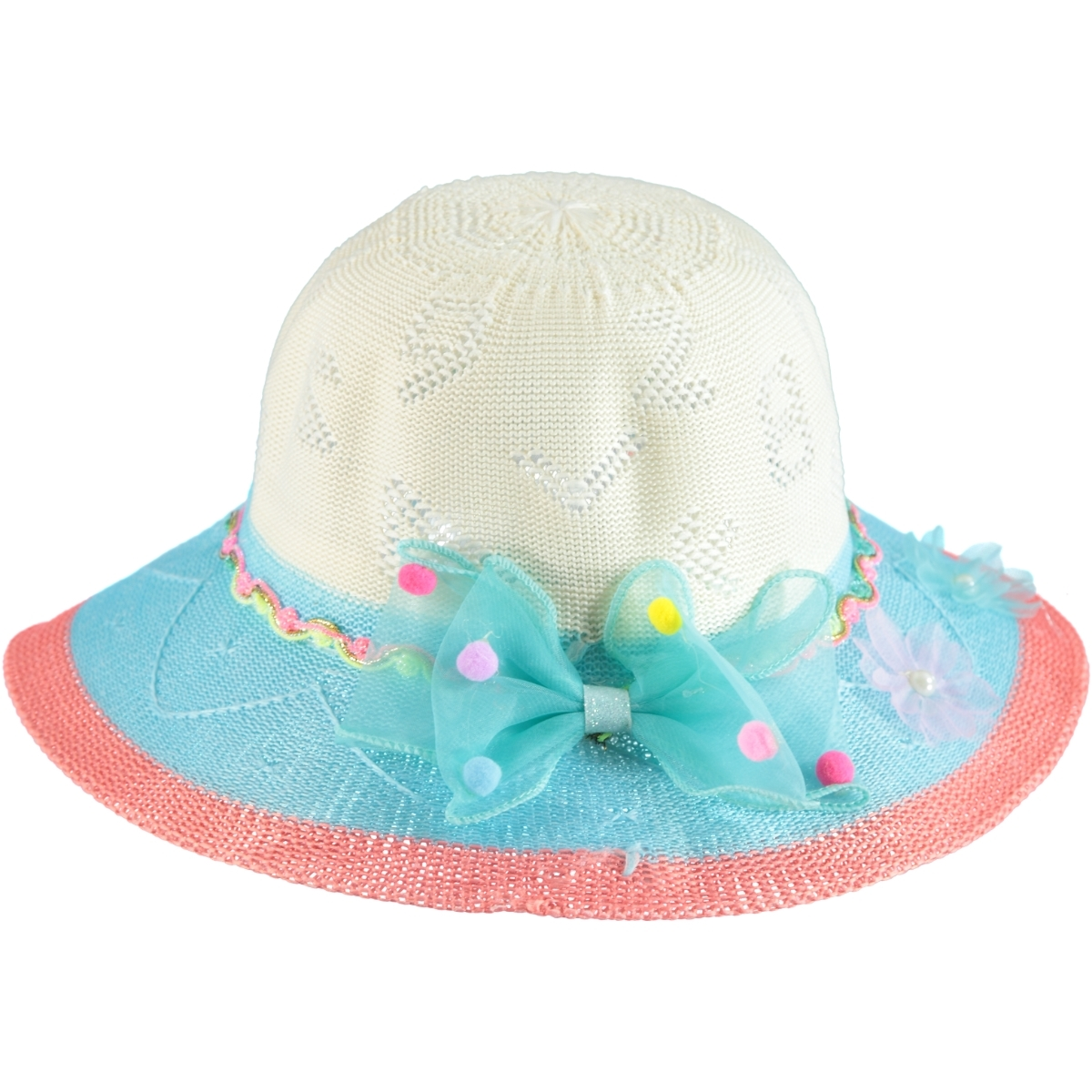 Kitti Girl Straw Hat Turquoise 6-12 Years Old