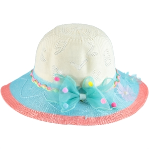 Kitti Girl Straw Hat Turquoise 6-12 Years Old (1)