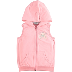 Cvl Powder Pink Hooded Vest Girl Age 6-9