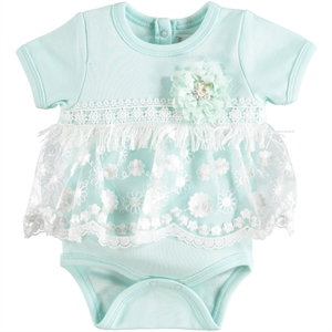 T.F.Taffy Baby Girl 0-9 Months Mint Green Bodysuit With Snaps Taffy