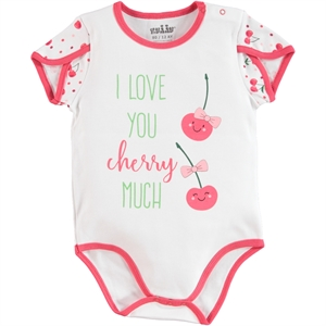 Kujju Baby Girl Bodysuit With Snaps-White, 3-9 Months