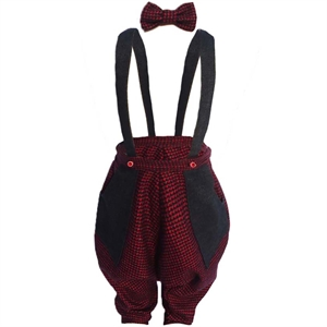 Shecco Babba Boy With A Bow Tie Jumpsuit Grey-Red