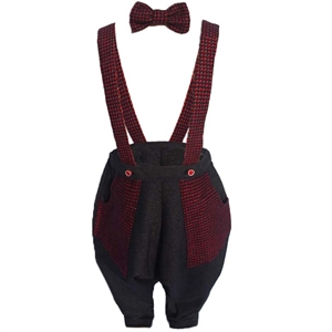 Shecco Babba Boy Red Jumpsuit With A Bow Tie-Grey