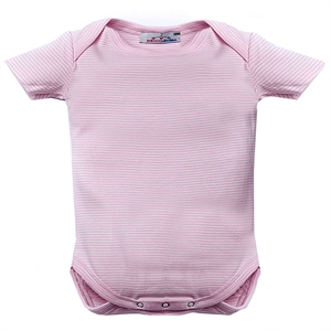 Shecco Babba Baby Girl Pink Short Sleeve Bodysuit With Snaps-White