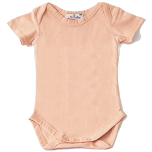 Shecco Babba Salmon Short Sleeve Baby Girl Bodysuit With Snaps