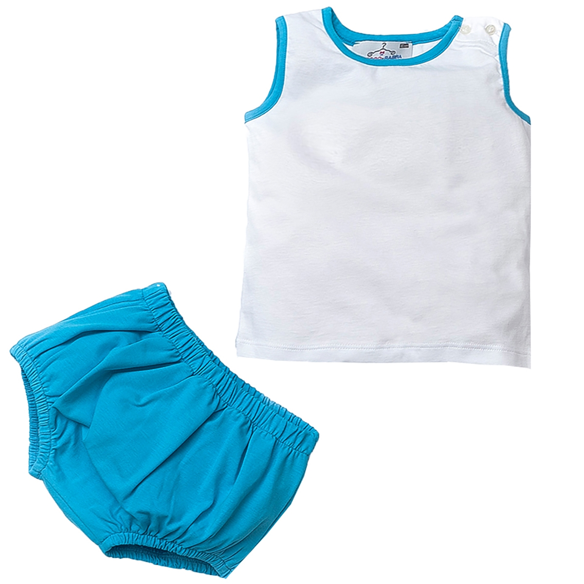Shecco Babba A Male Baby's Bottom-Hearted Some White Shorts-Turquoise