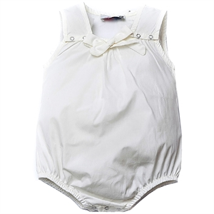Shecco Babba Baby Girl White Bodysuit With Bow