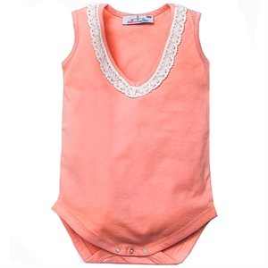 Shecco Babba Baby Girl Bodysuit With Lace Salmon