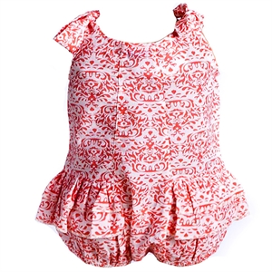 Shecco Babba A Baby Girl With A Strap Baggy Shorts Jumpsuit Coral