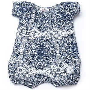 Shecco Babba Blue Baby Girl Jumpsuit Baggy Shorts With Pockets