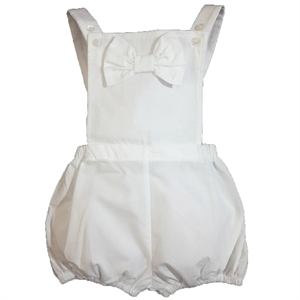 Shecco Babba White Shorts Jumpsuit With Bow Baby Girl