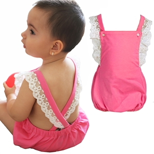 Shecco Babba Baby Girl Pink Mini Lace Shorts Jumpsuit