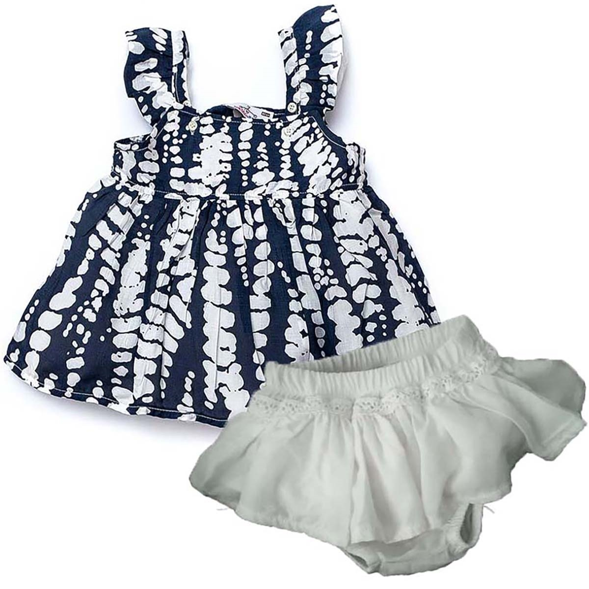 Shecco Babba Baby Girl Navy Blue Mini Dress With Strap