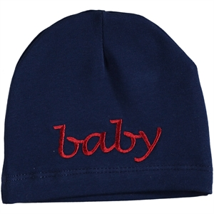 Albimama Combed Cotton Beret In Navy Blue 0-24 Months