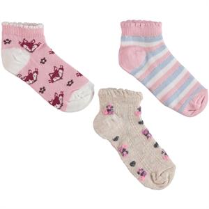 Civil Girls 3 girls socks-Pink Ages 2-12