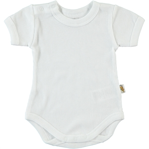 Minidamla 0-12 Months White Baby Bodysuit With Snaps