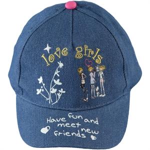 Kitti Kız Çocuk Kep Şapka 4-8 Yaş Mavi