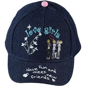 Kitti Kız Çocuk Kep Şapka 4-8 Yaş Lacivert