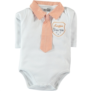 Kujju 3-9 Months Baby Boy Bodysuit With Snaps Orange