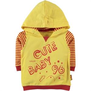 Kujju 6-18 Months Baby Boy Hooded Sweatshirt Yellow