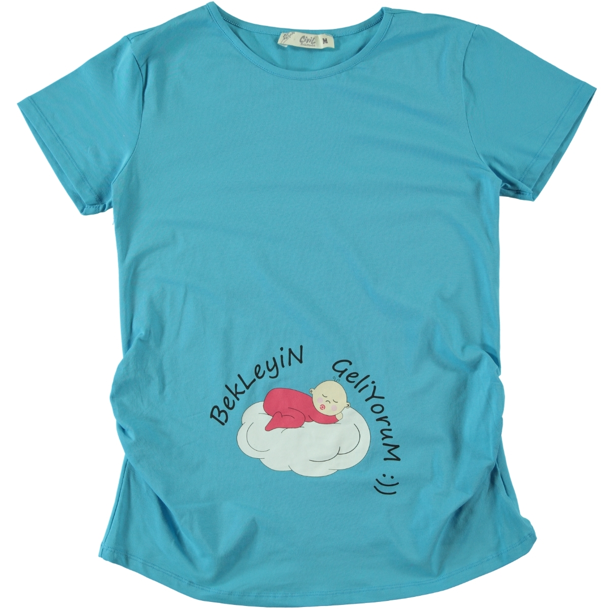 Cvl Pregnant Civil Combed Cotton T-Shirt Turquoise
