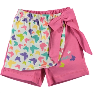 Kujju Baby Girl 6-18 Months Fuchsia Patterned Shorts