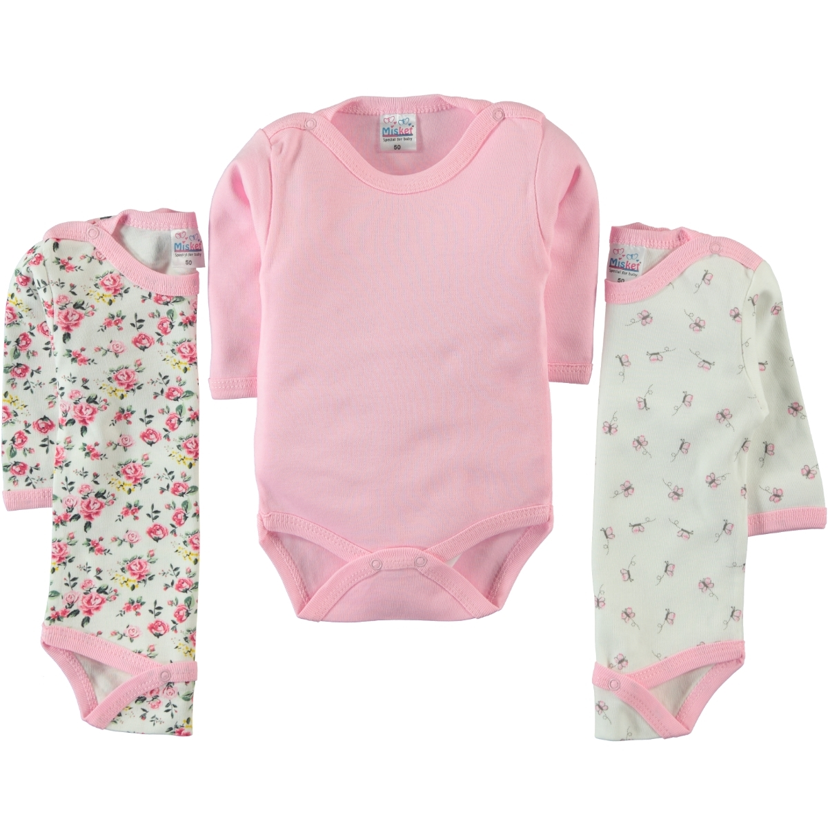 Misket Baby girl Bodysuit with snaps 3-0-12 months-Pink