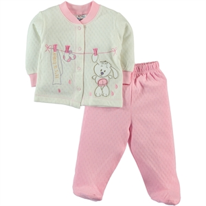 Misket 1-6 Months Baby Girl Pajama Pink Jacquard A-Team