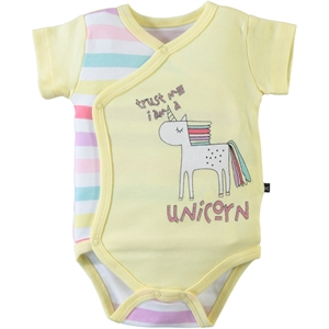 Babycool 1-9 Months Baby Girl Yellow Bodysuit With Snaps