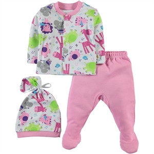 Minidamla Baby Beanie 0-3 Months Pink Pajama Outfit