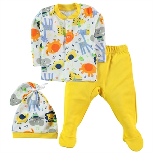 Minidamla A Pajama Outfit 0-3 Months Baby Beanie Yellow