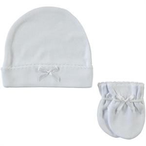 Sevi Bebe 0-3 Months Baby Girl Hat Gloves Set White