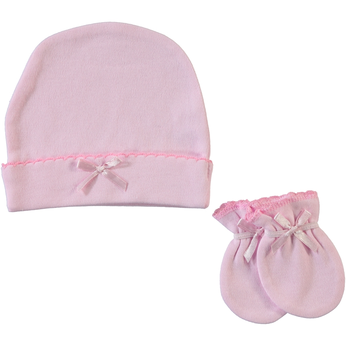 Sevi Bebe 0-3 Months Baby Girl Hat Gloves Set Pink