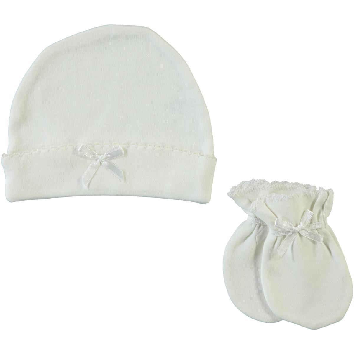 Sevi Bebe Ecru 0-3 Months Baby Girl Hat Gloves Set