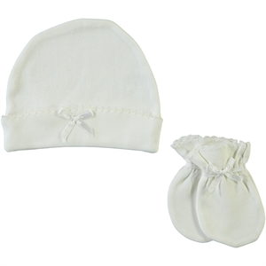 Sevi Bebe Ecru 0-3 Months Baby Girl Hat Gloves Set